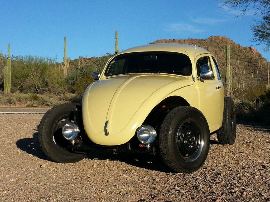 1975 VW Beetle Volksrod Custom Chopped Stretched Black & Tan 2110 Engine