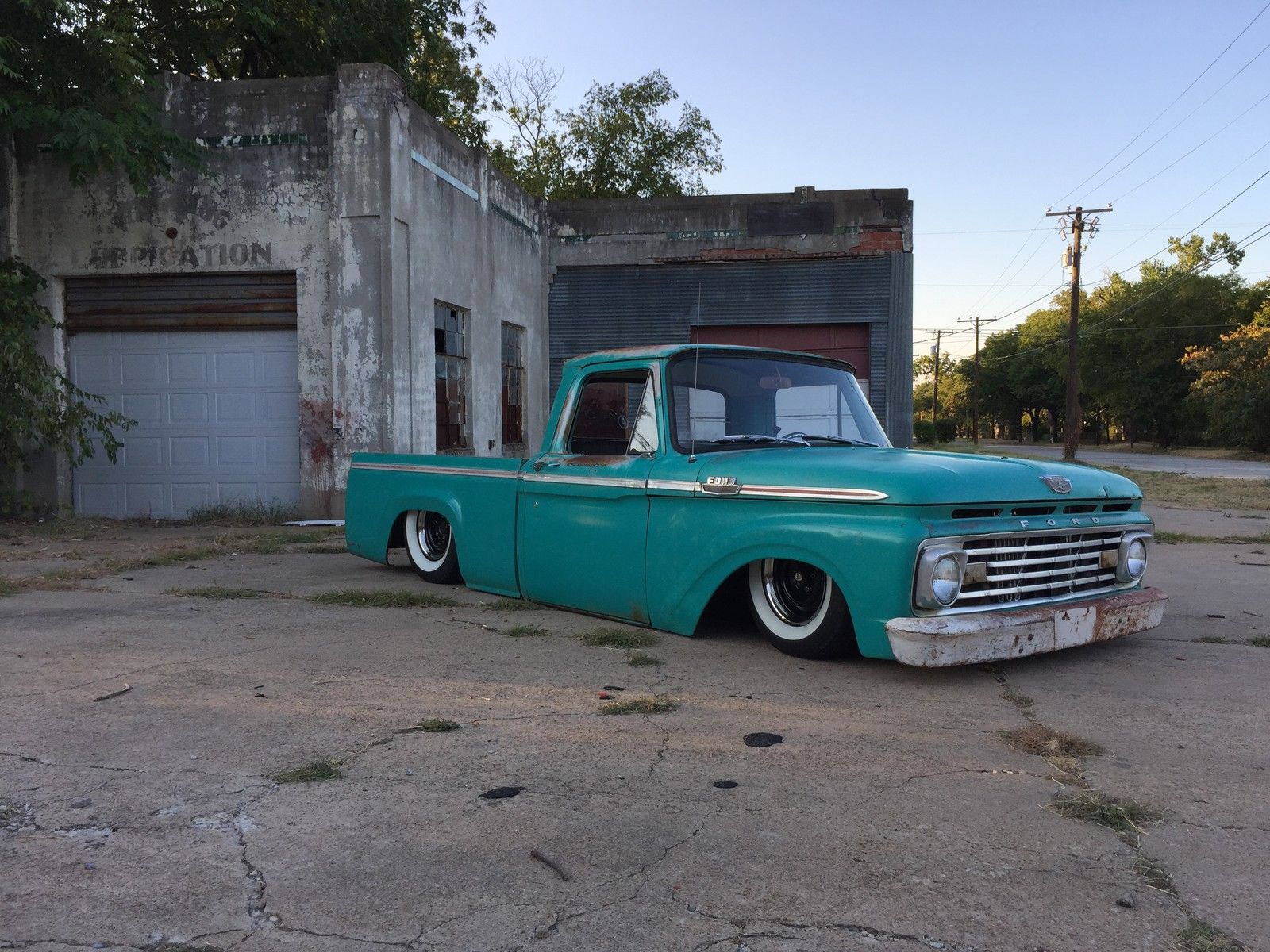 1963 ford f 100 speed shop bagged patina chevy shop truck