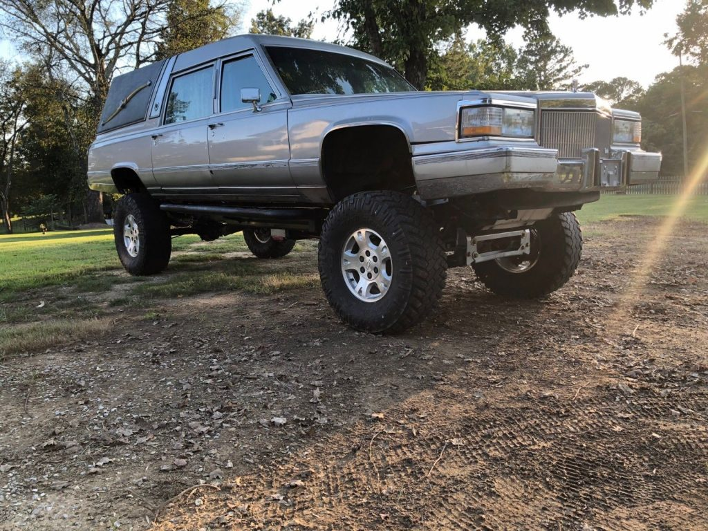 lifted 1991 Cadillac Brougham hearse custom